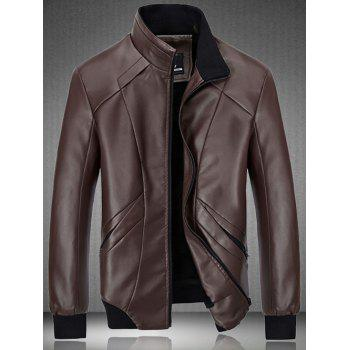 PU Leather Rib Hem Zip Up Flocking Jacket