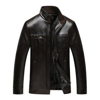 Flocking Stand Collar Zip Up Faux Leather Jacket