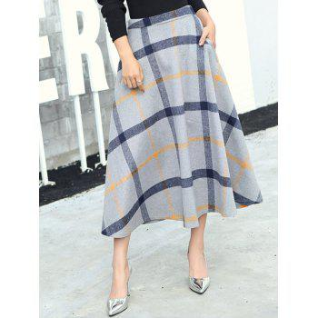 Wool Blend Checked Midi Flare Skirt