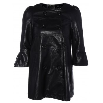 Flare Sleeve Double Breasted PU Leather Dress - BLACK BLACK