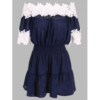 Off The Shoulder Lace Trim Mini Dress