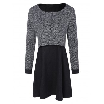 Long Sleeves Layered Swing Sweater Dress