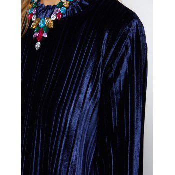 Oversized Velvet Tee Dress - PURPLISH BLUE PURPLISH BLUE