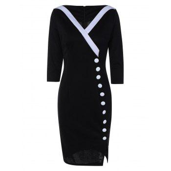 Color Block Beaded Side Slit Pencil Dress