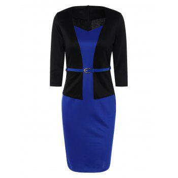 Slim Fit Belted Color Block Sheath Dress