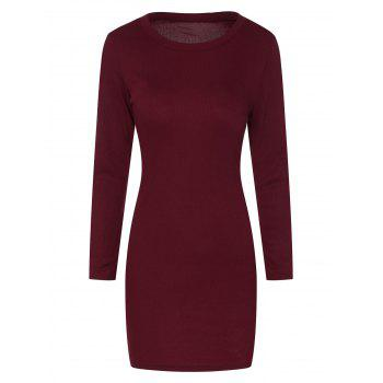 Mini Ribbed Long Sleeve Knit Dress