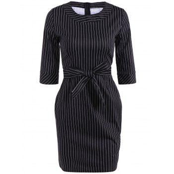Striped Mini Sheath Work Dress with Belt