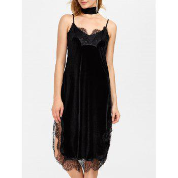 Velvet Lace Trim Slit Cami Dress