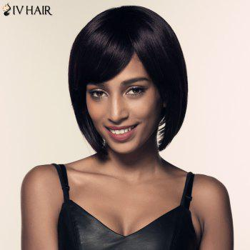 Bob Side Bang Short Straight Siv Hair Human Hair Wig - JET BLACK