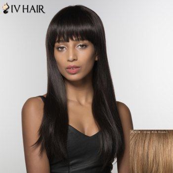 Fascinating Long Neat Bang Straight Siv Hair Human Hair Wig