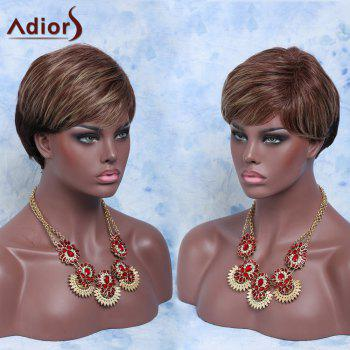 Fluffy Curly Adiors Short Side Bang Straight Highlight Synthetic Wig