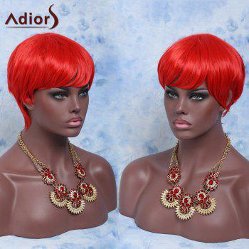 Short Heat Resistant Fiber Full Bang Straight Wig