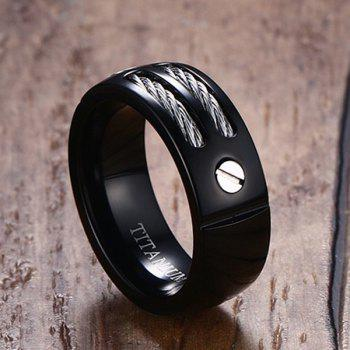 Cable Inlay Letter Titanium Ring - BLACK BLACK