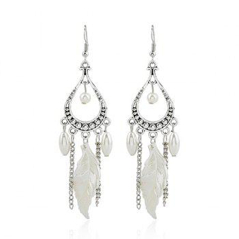 Faux Pearl Feather Chandelier Earrings