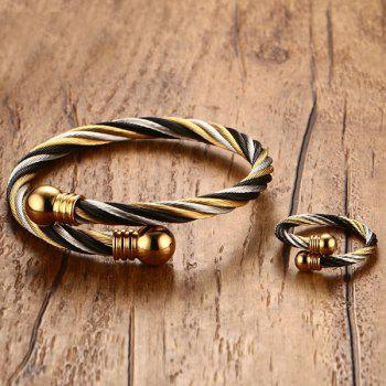 Alloy Single Circle Cable Bracelet and Ring -  GOLDEN