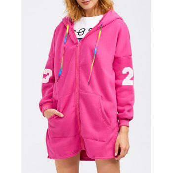 Hooded Letter Graphic Zip Up Hoodie