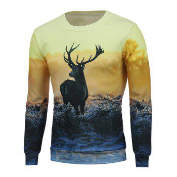 3D Dusk and Elk Print Crew Neck Long Sleeve Sweatshirt