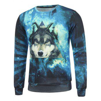 3D Wolf and Starry Sky Print Crew Neck Long Sleeve Sweatshirt