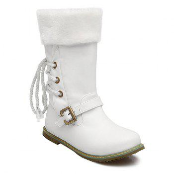 Buckle Lace Up Faux Shearling Mid Calf Boots