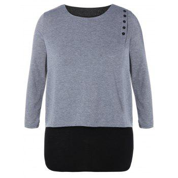 Plus Size Long Sleeve Buttons Embellished T-Shirt