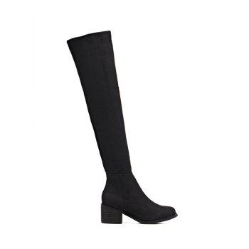 Mid Heel Flock Thigh Boots