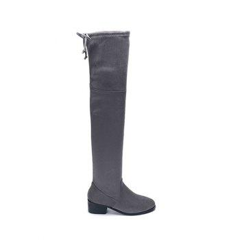 Slip On Flock Thigh High Boots