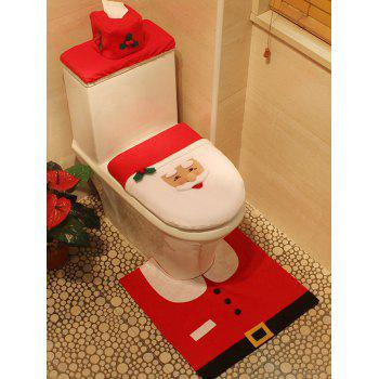 Christmas Decoration Santa Claus 3PCS Toilet Seat Cushion Cover Set - RED RED