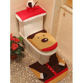 Christmas Decoration Deer Pattern 3PCS Toilet Seat Cushion Cover Set