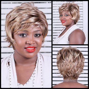 Layered Oblique Bang Short Colormix Slightly Curled Synthetic Wig