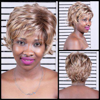 Layered Oblique Bang Short Color Mixed Slightly Curled Synthetic Wig