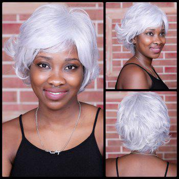Slightly Curled Short Shaggy Oblique Bang Tail Upwards Synthetic Wig