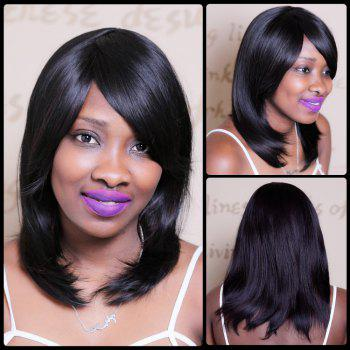 Natural Straight Medium Side Bang Tail Adduction Synthetic Wig
