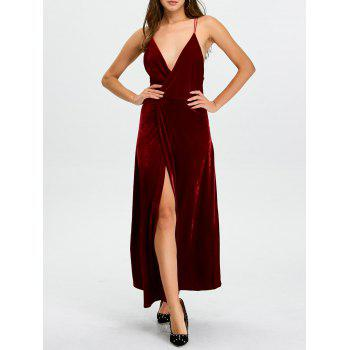 Backless Velvet Cami Slit Long Prom Dress