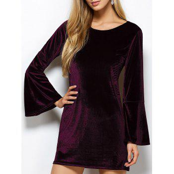 Flare Sleeve Back Cut Out Velvet Dress