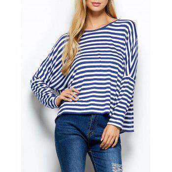 Stripe Scoop Neck Asymmetric Blouse