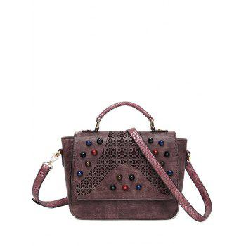 Hollow Out Colored Rivet Handbag