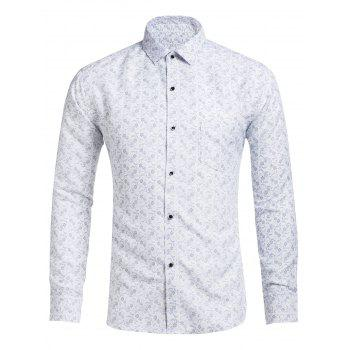 Slim Fit Floral Printed Casual Shirt
