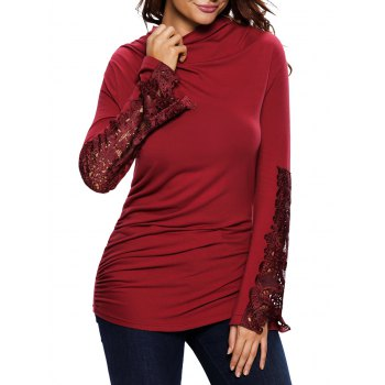 Lace Insert Ruched Long Sleeve Tee