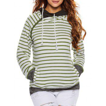 Stripe Pullover Hoodie With Pocket