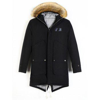 Patched Faux Fur Hooded Fishtail Parka
