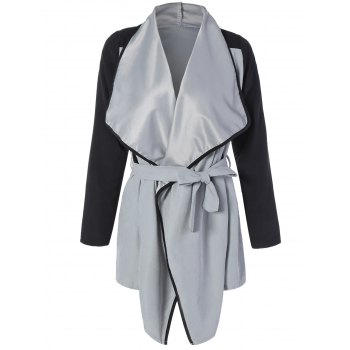 Two Tone Belted Wrap Coat