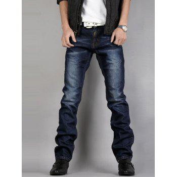 Zipper Fly Mid Waisted Straight Leg Jeans