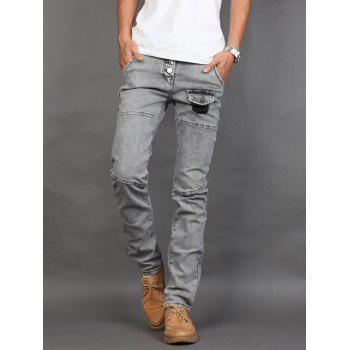Slim Fit Faux Pocket Zipper Fly Jeans