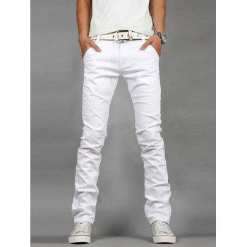 Zipper Fly Straight Leg Slim Fit Jeans