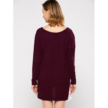 Lace Panel Asymmetric Dress - WINE RED XL