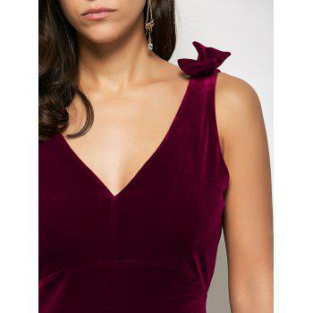 Velvet Bowknot Bodycon Party Empire Waist Cocktail Dress - WINE RED M