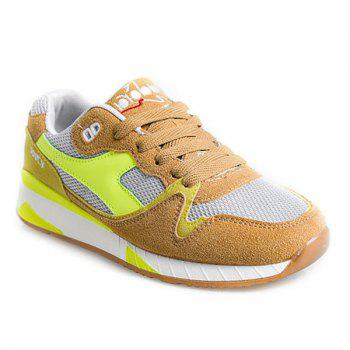 Tie Up Color Block Mesh Athletic Shoes