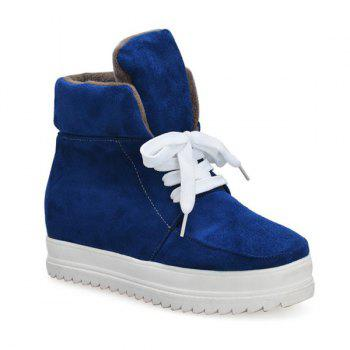 Tie Up Suede Platform Ankle Boots