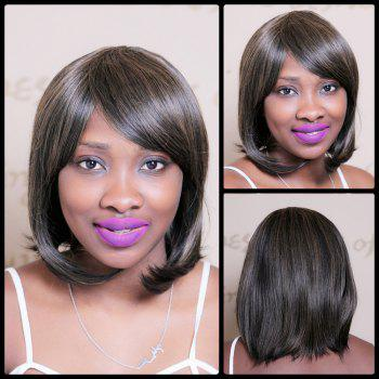 Color Mixed Short Oblique Bang Glossy Straight Bob Synthetic Wig