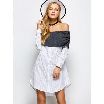 Off The Shoulder Striped Casual Dress - WHITE WHITE